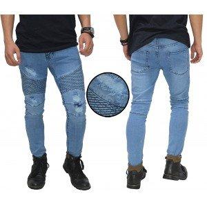 Celana Biker Jeans Ripped Light Blue