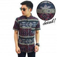 Kemeja Batik Pendek Abstract Block Stripe