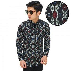 Kemeja Batik Songket Tenun Modern Black