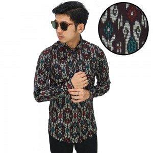 Kemeja Batik Songket Tenun Modern Brown