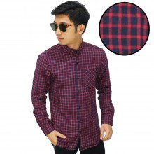 Kemeja Flanel Gingham Navy And Red
