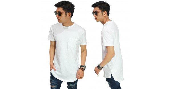 8aa39113e161 Longline T-Shirt Basic White Size L - Kaos Cowok Longline