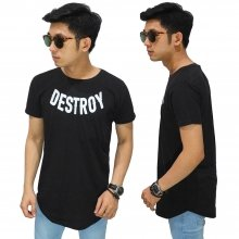 Longline T-Shirt Destroy Black