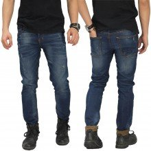 Celana Jeans Small Rips Dark Blue