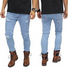 Celana Jeans Ripped On Knee and Thigh Soft Blue