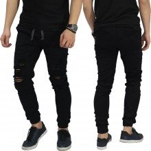 Jogger Jeans Ripped Soft Damage Black