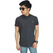 Kemeja Pendek Grandad Collar With List Grey