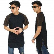 Longline T-Shirt Raglan Suede Black And Brown