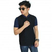 Polo Grandad Collar Black Sleeve Navy