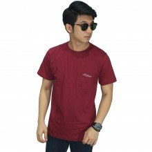 Basic T-Shirt With Pocket Maroon