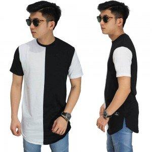 Longline T-Shirt Black And White