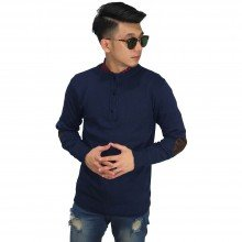 Three Button Knit Sweater Elbow Navy