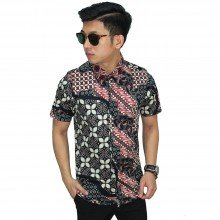 Kemeja Pendek Batik Modern Multi Motif Black