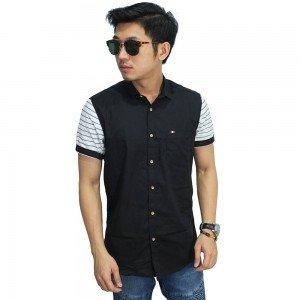 Kemeja Pendek Sleeve Stripe Black