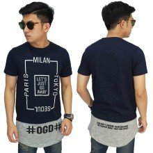 Longline T-Shirt Lets Just Go Away Navy