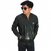 Jaket Bomber Leather Dark Green