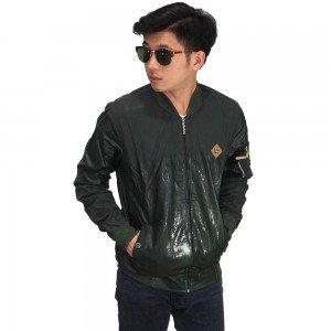 Jaket Bomber Leather Dark Green
