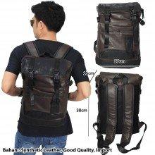 Tas Backpack Leather Meet Canvas Brown