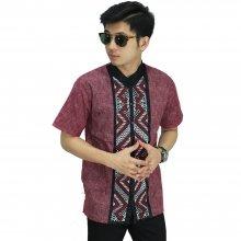 Baju Koko Pendek Bordir Batik Tenun Maroon