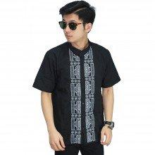 Baju Koko Pendek Bordir Kotak Black