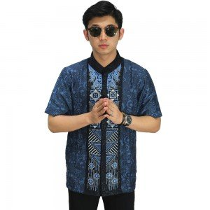Baju Koko Pendek Bordir Abstract Navy