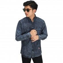 Kemeja Panjang Denim Stone Washed Black