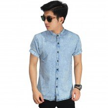 Kemeja Denim Pendek Grandad Collar Light Blue