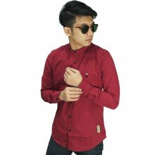Kemeja Grandad Collar Basic Red