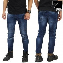Jeans Biker Ripped Dark Blue