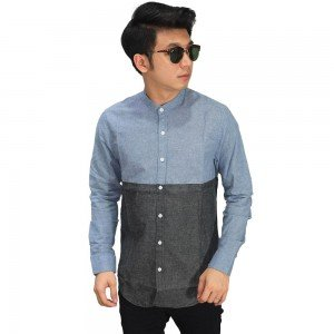 Kemeja Grandad Two Tone Blue And Grey