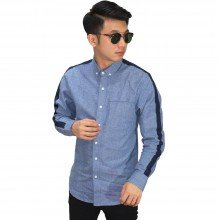 Kemeja Oxford Sleeve Block List Blue