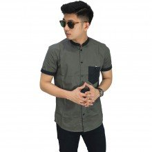 Kemeja Pendek Grandad With Pocket Dark Grey