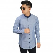 Kemeja Grandad Collar List Blue