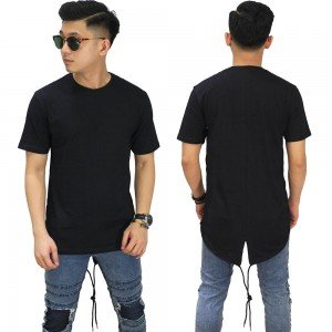 Longline T-Shirt Fishtail Black