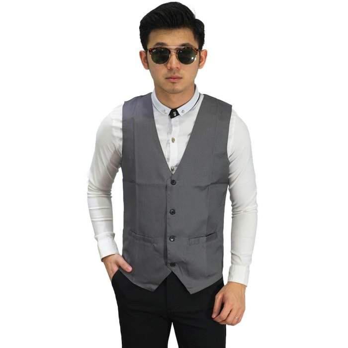 Vest Formal Basic Dark Silver