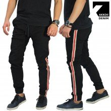 Celana Jogger Chino Side Stripe Black
