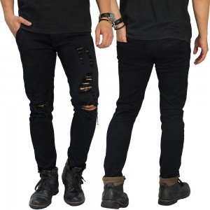 Jeans Ripped Distressed Left Side Black