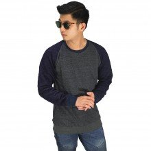 Sweatshirt Raglan Quilted Dark Grey