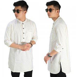Baju Muslim Kurta Gamis 3/4 Polos Soft Cream