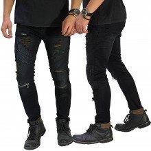 Biker Jeans Extra Ripped Vintage Black