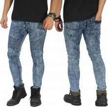 Biker Jeans Maskulin Snow Wash Blue
