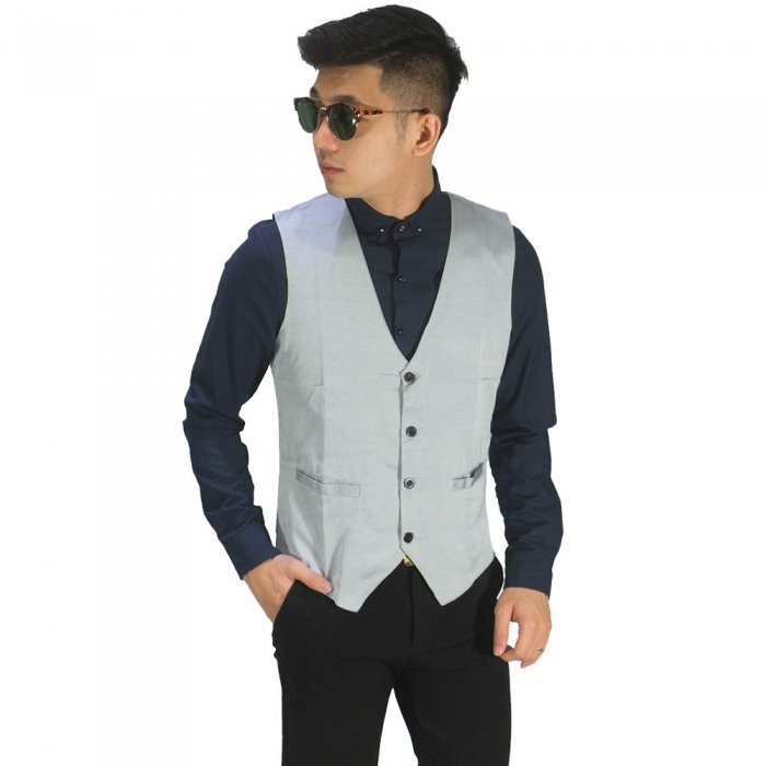 Vest Formal Basic Light Silver