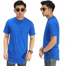 Longline T-Shirt Basic Blue Electric