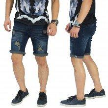 Celana Pendek Jeans 4 Ripped Dark Indigo