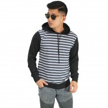 Jaket Jumper Hoodie Small Stripe Dark Grey