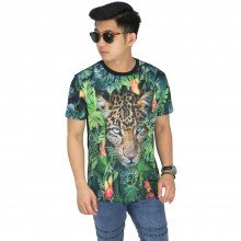 Kaos Printing Leopard On Forest