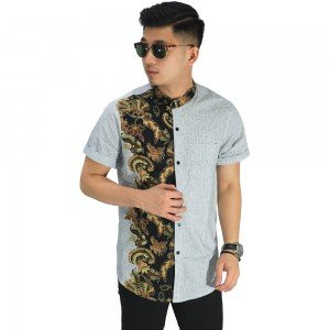 Kemeja Pendek Grandad Half Batik Combination Soft Grey