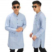 Baju Muslim Kurta Gamis Basic Soft Blue