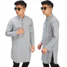 Baju Muslim Kurta Gamis Basic Soft Grey
