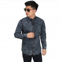 Kemeja Denim Grandad Collar Black Faded Washed
